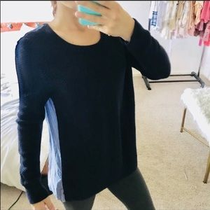 Loft navy blue two in one striped sweater